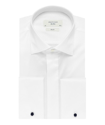 Elegancka biała koszula smokingowa profuomo sky blue do muchy, mankiety na spinki, kryta listwa. 45