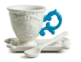 Filiżanka do kawy ze spodkiem i łyżeczką I-Coffee niebieska