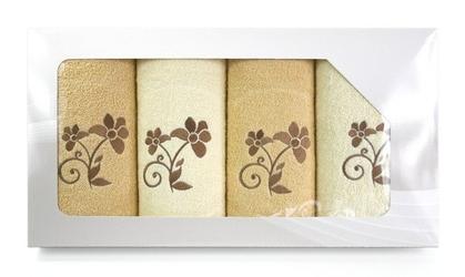 Komplet 4 ręczników na prezent viva krem cappucino wzór 3 - kremowy || cappucino  3