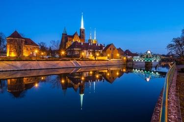 Wrocław, wieczorne widoki - plakat premium wymiar do wyboru: 84,1x59,4 cm