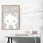 Kotek szare tło - plakat wymiar do wyboru: 20x30 cm