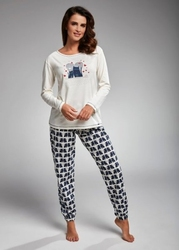 Piżama damska cornette 685160 two cats dłr s-2xl