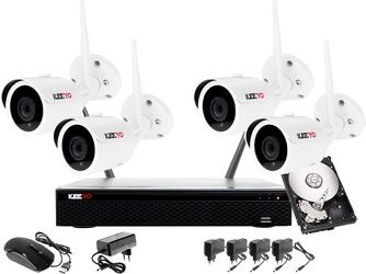 Monitoring bezprzewodowy wifi zestaw ip: rejestrator 4  kanałowy ip wifi + 4x kamera ip wifi + dysk 1tb + akcesoria