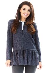 Granatowy Długi Sweter na Suwak z Falbanką