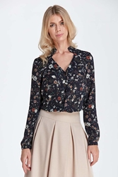 Elegancka bluzka z ozdobnym dekoltem - wzór ecru