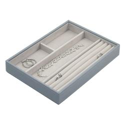 Pudełko na biżuterię 4 komorowe classic Stackers szaroniebieskie