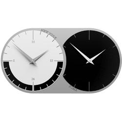 Zegar ścienny - 2 strefy czasowe world clock calleadesign czarny  biały 12-009-5