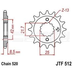Zębatka przednia jt f512-16, 16z, rozmiar 520 2200333 suzuki gsx-r 750, kawasaki zx-9r 900