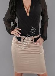 Beżowa elegancka spódnica,  satynobawełniana, 185