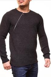 Długi męski sweter crsm - szary ciemny 9501-2