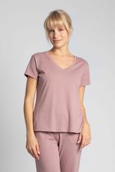 Bawełniana koszulka do spania z krótkim rękawem - wrzosowy