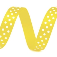 Satynowa wstążka w kropki 10 mm1m - żółta - żół