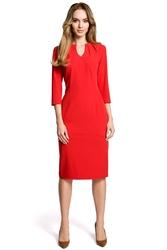 Czerwona sukienka wizytowa dopasowana z przeszyciami