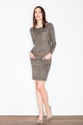 Oliwkowa prosta sukienka do kolan z paskiem