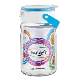 Słoik  pojemnik szklany do przechowywania żywności z plastikową pokrywą altom design 1,4 l niebieski