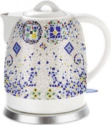 Czajnik ceramiczny biały z wzorem elektryczny 1,5l