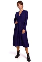 Rozkloszowana sukienka dzianinowa z suwakiem - indygo