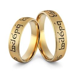 Obrączki ślubne elfickie z emalią jubilerską - au-995
