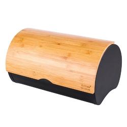 Chlebak  pojemnik na chleb i pieczywo metalowy z pokrywką bambusową altom design czarny