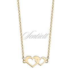 Srebrny naszyjnik pr.925 złocone serduszka - Żółte złoto