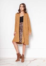 Swetrowy płaszcz bez zapięcia z warkoczami - musztardowy