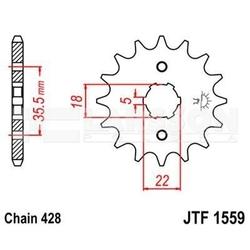 Zębatka przednia jt f1559-14, 14z, rozmiar 428 2200939 yamaha tw 125