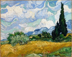 Reprodukcja wheat field with cypresses, vincent van gogh