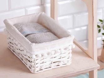 Koszyk  kosz wiklinowy do organizacji  przechowywania altom design biały z pomponami 30 cm