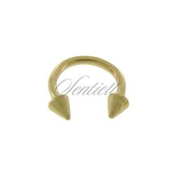 Stalowy 316l kolczyk podkówka z grotami - złota