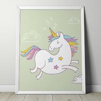 Starry unicorn - plakat dla dzieci , wymiary - 50cm x 70cm, kolor ramki - czarny