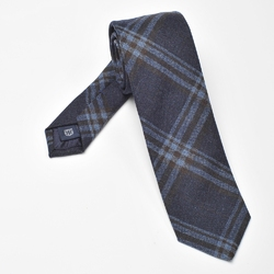 Granatowy krawat wełniany w błękitną i brązową kratę, wąski 6,5cm