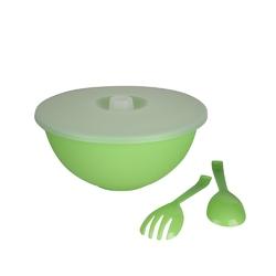 Miska plastikowa z pokrywą + łyżka i widelec do sałaty sagad 3,6 l zielona