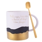 Kubek porcelanowy na prezent  do kawy i herbaty z łyżeczką altom design sentencje gold  grey 350 ml opakowanie prezentowe