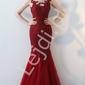 Czerwona suknia wieczorowa syrenka dla matki panny młodej