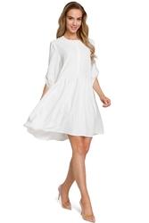 Ecru oversizowa sukienka zapinana na guziki