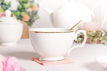 Filiżanka śniadaniowa porcelana karolina mariapaula złota linia 350 ml