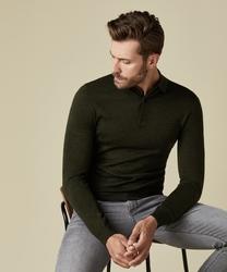 Elegancki zielony sweter polo z długimi rękawami  xxl