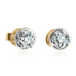 Staviori Kolczyki. 2 Diamenty, szlif brylantowy, masa 0,20 ct., barwa G, czystość SI1. Żółte Złoto 0,585.  rodowane łapki Średnica 4 mm. Wysokość 4 mm.