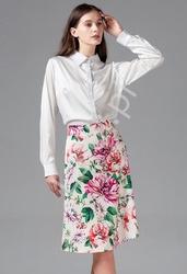 Elegancki komplet damski, biała koszula i kwiatowa spódnica 9396