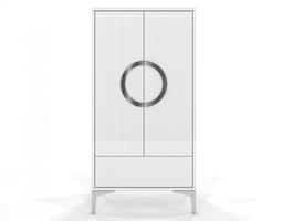 Biała wysoka nowoczesna komoda eva  wysoki połysk