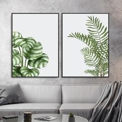 Zestaw dwóch plakatów - tropical atmosphere , wymiary - 40cm x 50cm 2 sztuki, kolor ramki - biały