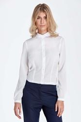 Ecru elegancka bluzka koszulowa z okrągłym kołnierzykiem