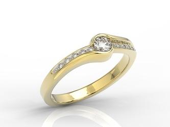 Pierścionek z żółtego złota z brylantami 0,19ct wzór bp-3419z-r - żółte z rodowaniem  diament