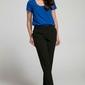 Czarne eleganckie spodnie 78 z falbanką przy kieszeniach