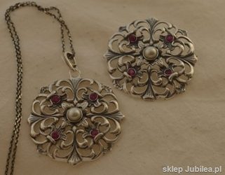 Srebrny komplet perła i rubiny DOROTA