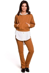 Karmelowa krótka nierozpinana bluza z kieszeniami