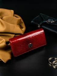 Portfel damski skórzany lakierowany czerwony cavaldi h22-1 - czerwony