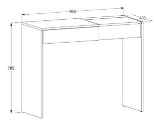 Toaletka z szufladą i lusterkiem pina 96 cm białadąb sonoma