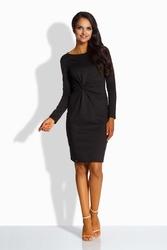 Czarna elegancka dopasowana sukienka z ozdobnym węzłem