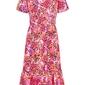 Sukienka bonprix różowo-pomarańczowy w kwiaty